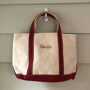 Vintage LL BEAN Boat & Tote Canvas Bag Red Trim